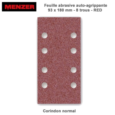 Patin abrasif 93 x 180 mm-8 trous-Red 50 pièces