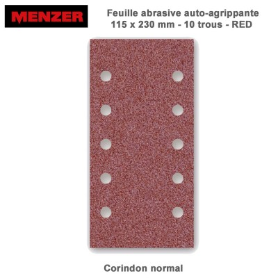 Patin abrasif 115 x 230 mm-10 trous-Red 50 pièces