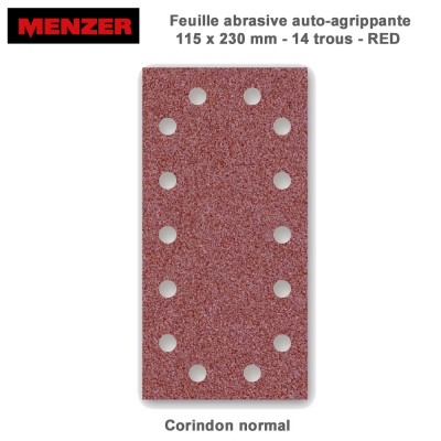 Patin abrasif 115 x 230 mm-14 trous-Red 50 pièces