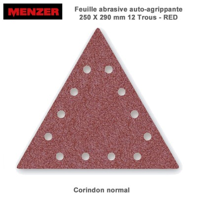 Abrasif triangulaire  250 x 290 mm-12 trous-Red 2-5-10 ou 25 pces