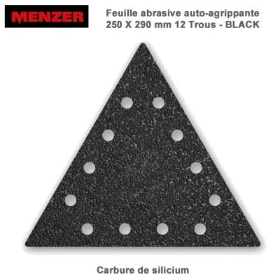 Abrasif triangulaire 250 x 290 mm-12 Trous-Black 2 ou 10 pièces