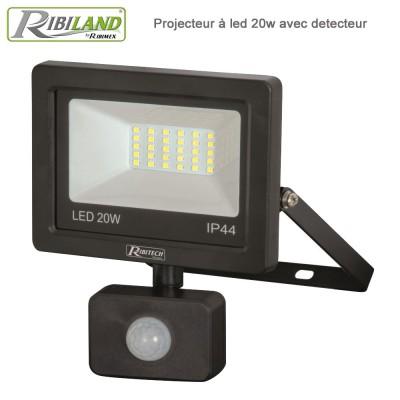 Projecteur LED 20 W 1500 lumens - Mural avec détecteur