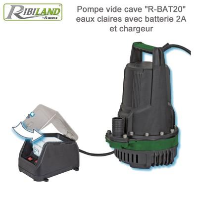Pompe vide-cave à batterie complet R-BAT20