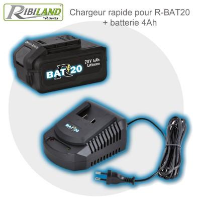Chargeur rapide R-BAT20 + batterie 4 Ah