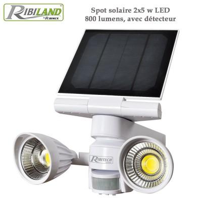 Spot solaire 2x5 w LED, 800 lumens, avec détecteur