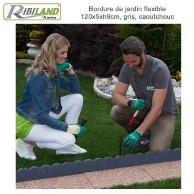 Bordure de jardin 120 x 5 x 10 cm coloris terre