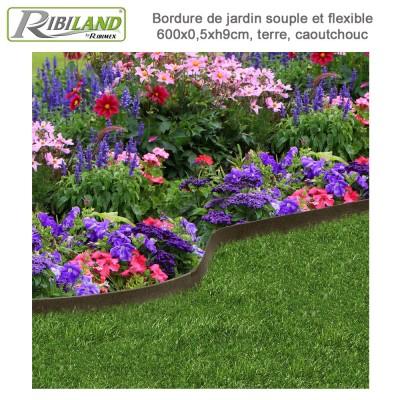 Bordure de jardin fine 6 m x 0.5 x 9 cm coloris terre