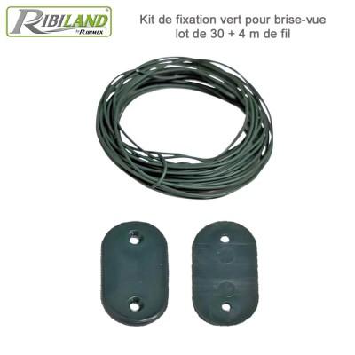 Kit de fixation vert pour brise-vue lot de 30 + 4 m de fil