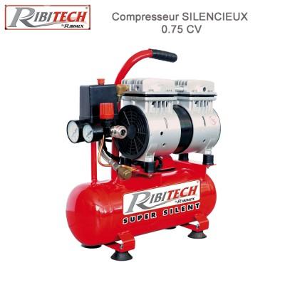 Compresseur 0,75CV sur cuve 6 L silencieux