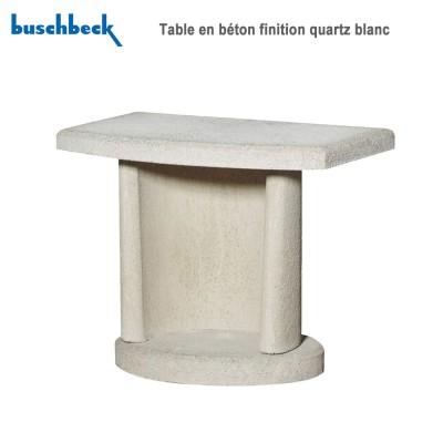 Table en béton finition quartz blanc