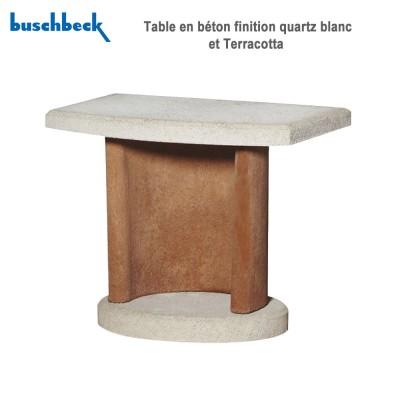 Table en béton finition quartz blanc et Terracotta