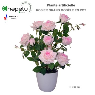 Rosier rose artificiels en pot H. 60 cm