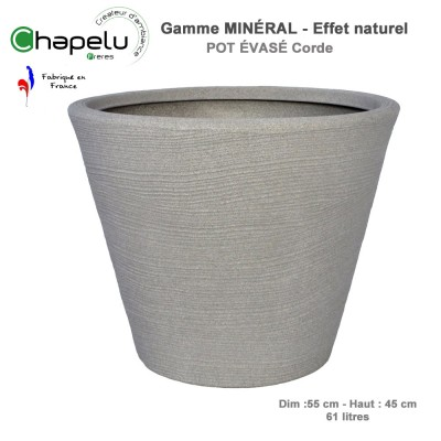 Pot de fleur - Pot évasé minéral 55 cm
