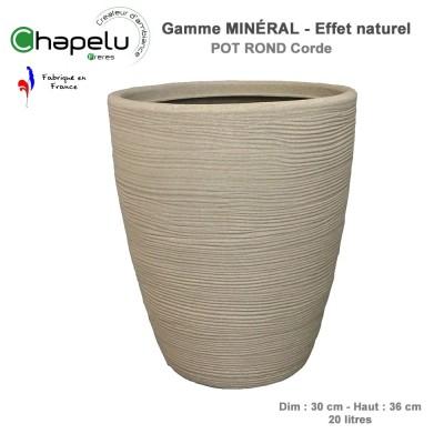 Pot de fleur - Pot rond minéral 30 cm