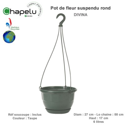 Pot de fleur Suspension Divina 27 cm avec soucoupe réserve d'eau