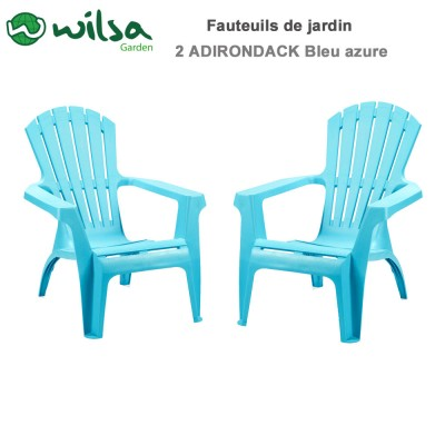Fauteuils Adirondack Bleu azure - Lot de 2
