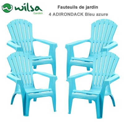 Lot de 4 Fauteuils Adirondack Bleu azure