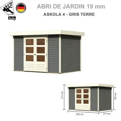Abri de jardin bois Askola 4 gris terre - 302x217