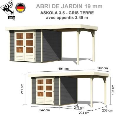 Abri de jardin bois Askola 3.5 gris terre - 242x246 + extension 2.40