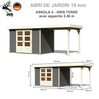 Abri de jardin bois Askola 4 gris terre - 302x217 + extension 2.40