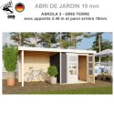 Abri de jardin bois Askola 3 - 242x217 + extention 2.40 + panneau A