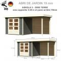Abri de jardin bois Askola 3 - 242x217 + extention 2.40 + panneau L