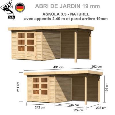 Abri de jardin bois Askola 3.5 - 242x246 + extension 2.40 + panneau A
