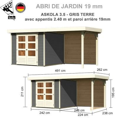 Abri de jardin gris terre Askola 3.5 - 242x246 + extension 2.40 + panneau A