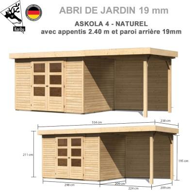 Abri de jardin bois Askola 4 - 302x217 + extension 2.40 + panneau A