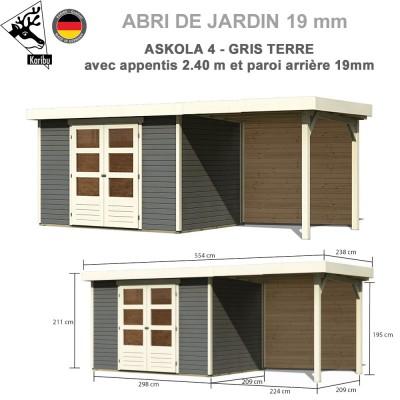 Abri de jardin gris terre Askola 4 - 302x217 + extension 2.40 + panneau A