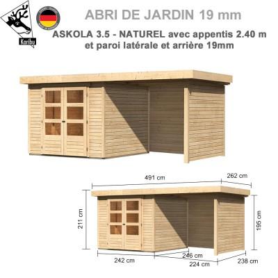 Abri de jardin bois Askola 3.5 - 242x246 + extension 2.40 + panneaux