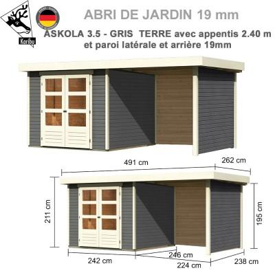 Abri de jardin gris terre Askola 3.5 - 242x246 + extension 2.40 + panneaux