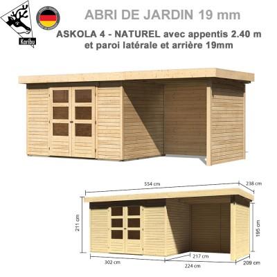 Abri de jardin bois Askola 4 - 302x217 + extension 2.40 + panneaux
