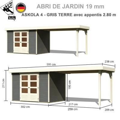 Abri de jardin gris terre Askola 4 naturel - 302x217 + extension 2.80