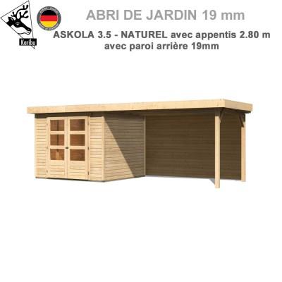 Abri de jardin bois Askola 3.5 - 242x246 + extension 2.80 + panneau A