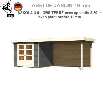 Abri de jardin gris terre Askola 3.5 - 242x246 + extension 2.80 + panneau A