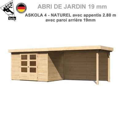 Abri de jardin bois Askola 4 - 302x217 + extension 2.80 + panneau A