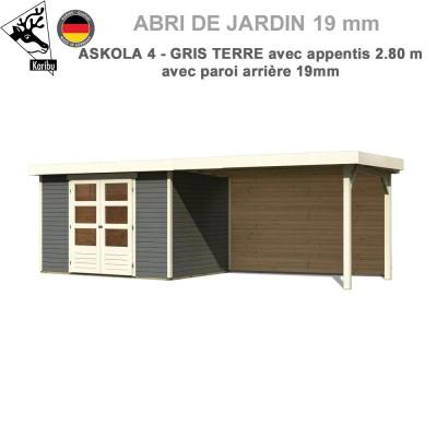 Abri de jardin gris terre Askola 4 - 302x217 + extension 2.80 + panneau A