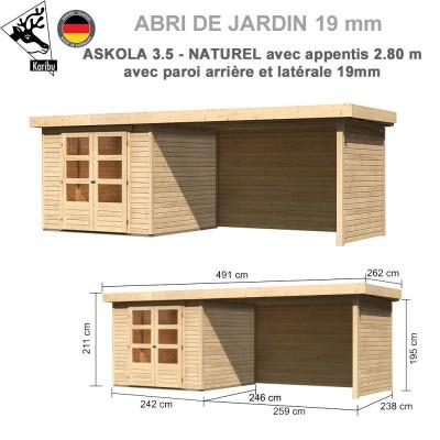 Abri de jardin bois Askola 3.5 - 242x246 + extension 2.80 + panneaux