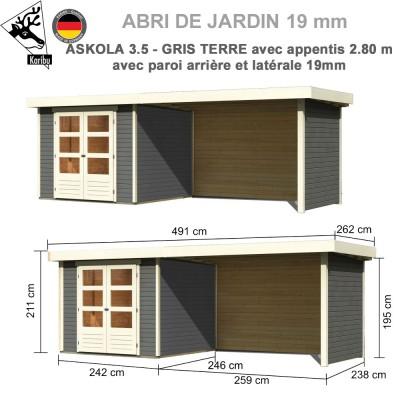 Abri de jardin gris terre Askola 3.5 - 242x246 + extension 2.80 + panneaux