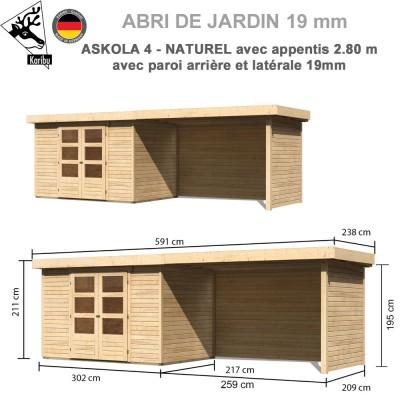 Abri de jardin bois Askola 4 - 302x217 + extension 2.80 + panneaux