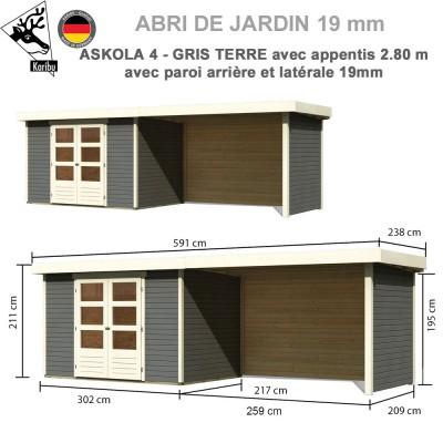 Abri de jardin gris terre Askola 4 - 302x217 + extension 2.80 + panneaux