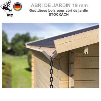 Gouttière bois pour abri à toit double pente Stockach