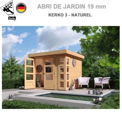 Abri de jardin bois Kerko 3 naturel - 242x217