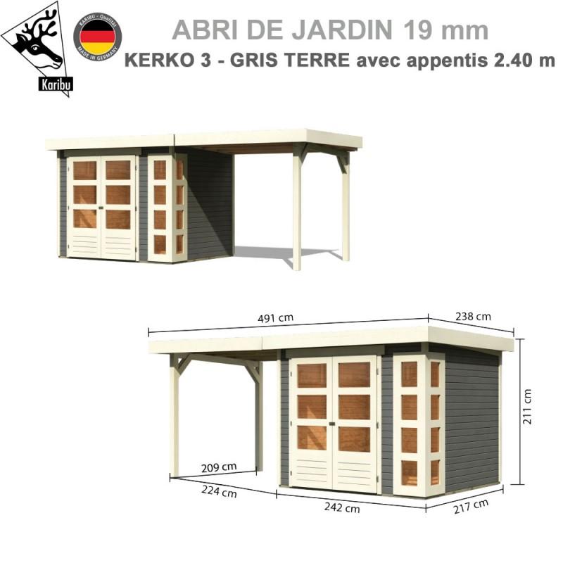 Abri de jardin bois Kerko 3 gris terre - 242x217 + extension 2.40