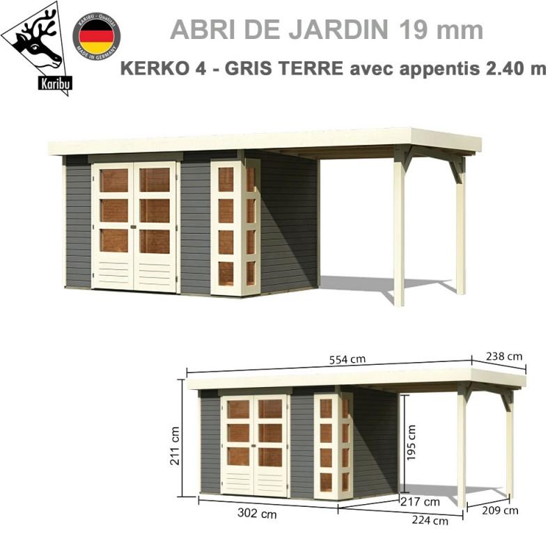 Abri de jardin bois Kerko 4 gris terre - 302x217 + extension 2.40
