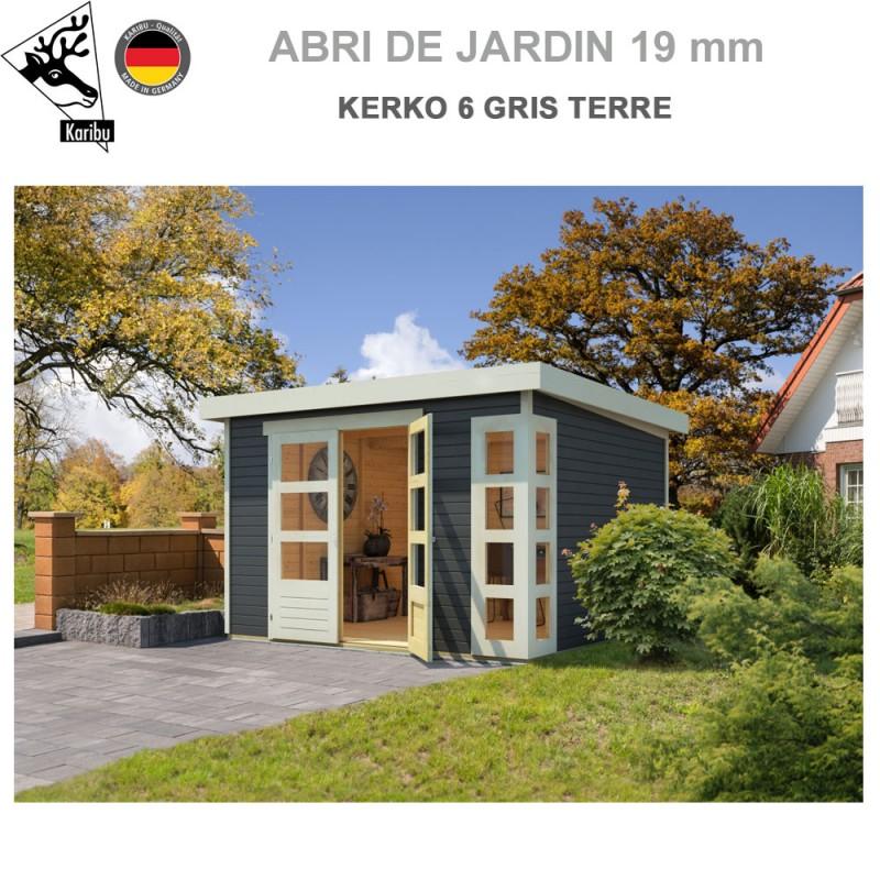 Abri de jardin bois Kerko 6 gris terre - 302x306