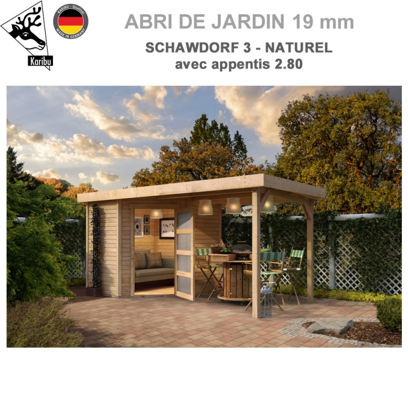 Abri bois Schwandorf 3 naturel - 213x217 + extension 2.80 m