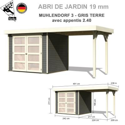Abri bois Mulhendorf 3 gris terre + extension 2.40 m