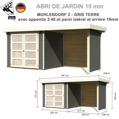 Abri bois Mulhendorf 3 + extension 2.40 m + panneaux
